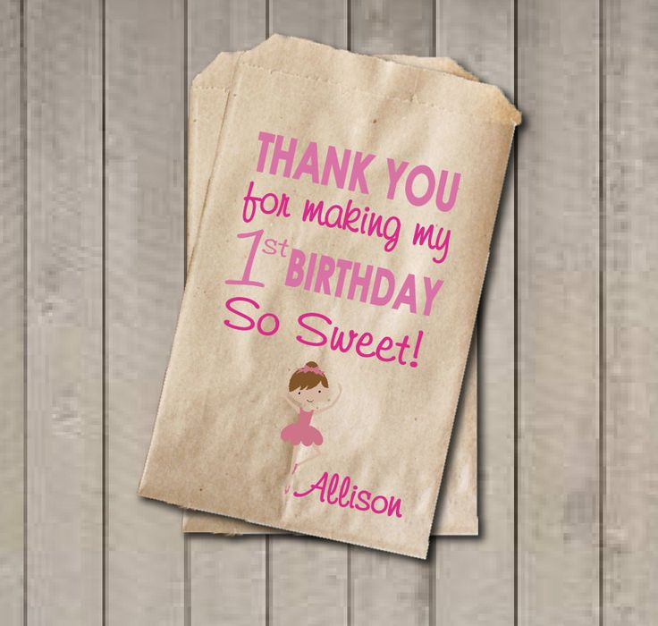 Girl Birthday Favor Bags, Ballerina Candy Bags, First Birthday Favor Bag…