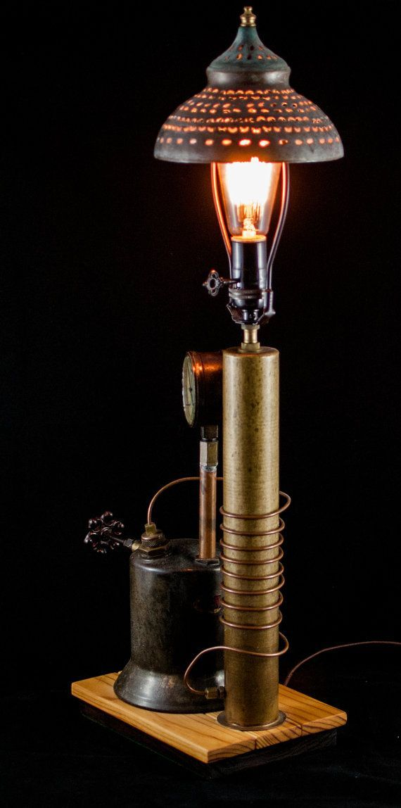 Industrial Steampunk Edison Light Table Lamp By