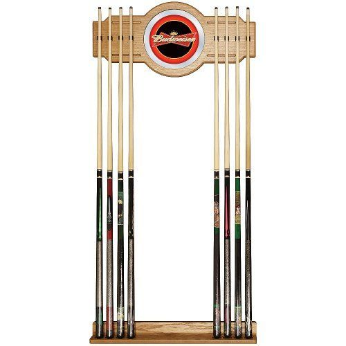 Trademark Budweiser Red/Black Billiard Cue Rack by Trademark Global. $129.99. This Officially Licensed Budweiser Wood/Mirror Wall Cue Rack will fit in the decor of your billiard room.