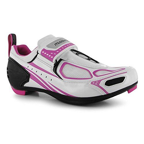 Muddyfox Womens TRI100 Ladies Cycling Shoes Waterproof Upper Mesh Panels WhiteBlkPink 4 37 >>> Read more  at the image link.