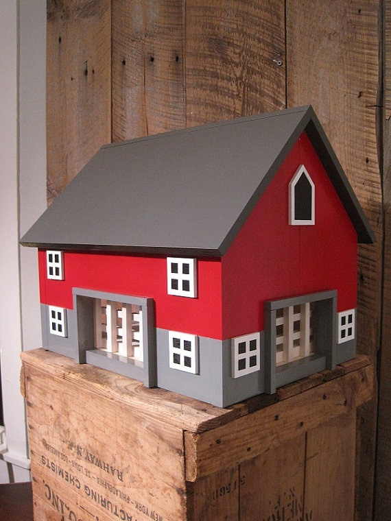 Great for the Block room!  Kids will drool at the fun they will IMAGINE with this LARGE Kids Toy Wooden Barn  Includes 4 Sections by TheSquareNail,