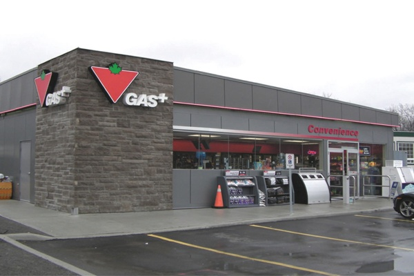 Contributions to the pending LEED® silver certification of this convenience store in Trenton, Ontario include; a white TPO roof to reduce heat island effect, low VOC paints, adhesives and sealants, recycled content in the steel and drywall and FSC certified lumber. #greenbuildings #conveniencestore #prefab