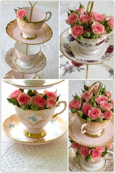 Collect these from garage sales, estate sales, flea markets. Arrange on tables as centerpieces. Can fill with floating candles, flowers, favors.