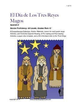 Three Kings Day Spanish 2 Lesson and Activities: Spanish 2 or accelerated Spanish I students learn about the cultural celebration of el Dia de los Tres Reyes in Spanish. Included are a bilingual vocabulary list, a simple Spanish reading, post-reading true and false and comprehension questions can be done a variety of ways. #spanishlanguageactivities #spanishlessonactivities #spanishlessons
