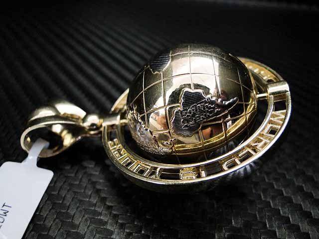 Mens Unisex 10k Yellow Gold Globe Pendant World Is Yours
