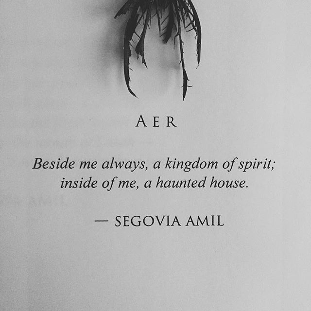 """Beside me always, a kingdom of spirit; inside of me, a haunted house"" -Segovia Amil"