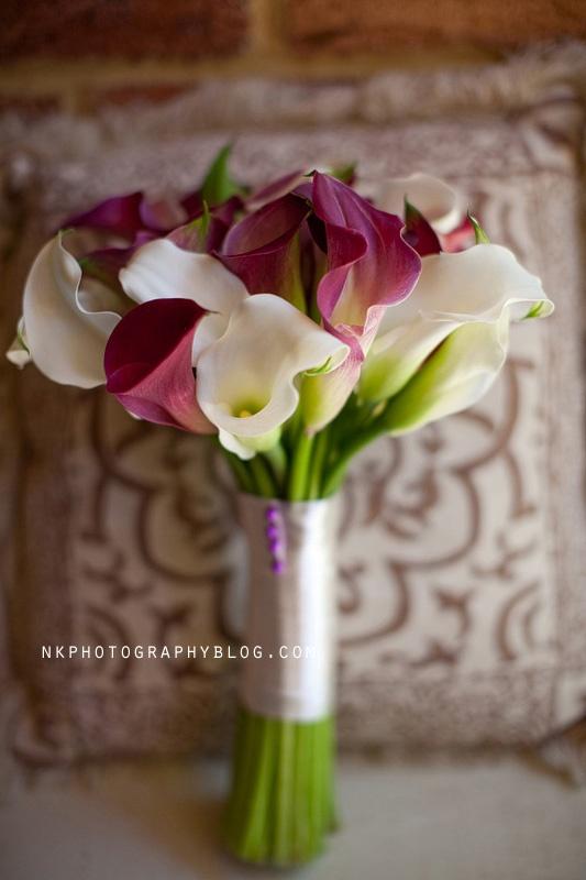 calla lilly purple white wedding bouquet more inspiration: http://www.modernrani.com