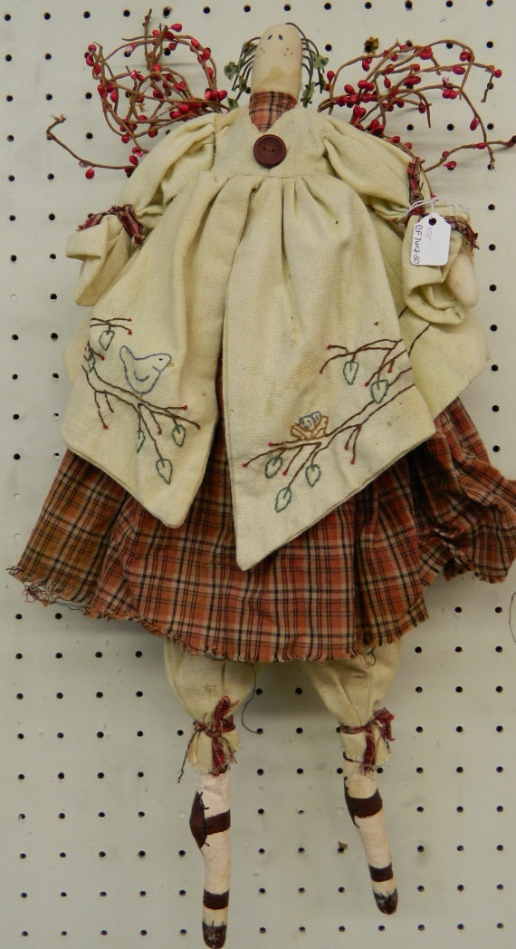 Vintage Primitive Angel with Berry Wings and by GrammysShop, $25.00
