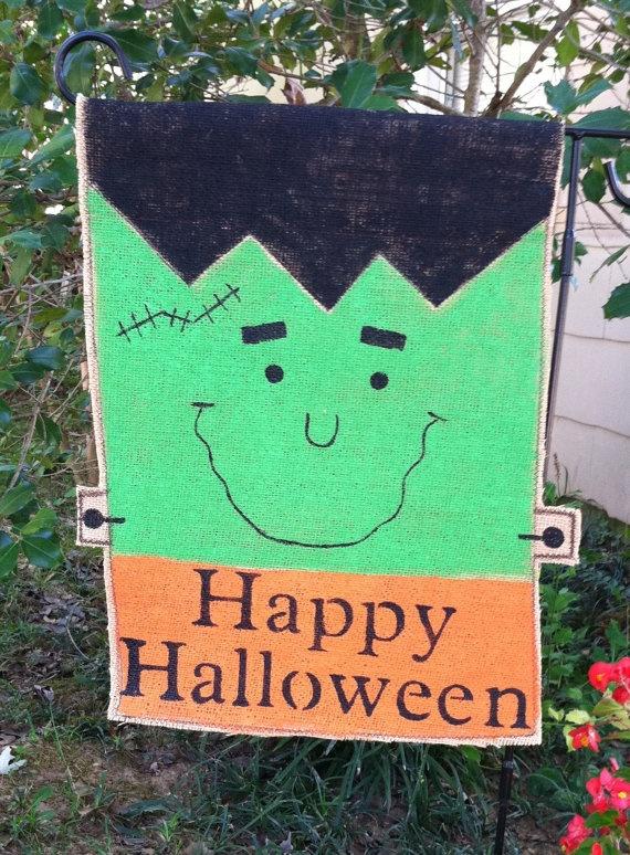 Burlap Frankenstein Garden Flag By ModernRusticGirl On Etsy