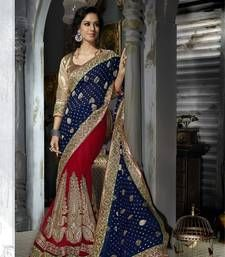 Buy Blue embroidered viscose saree with blouse wedding-saree online
