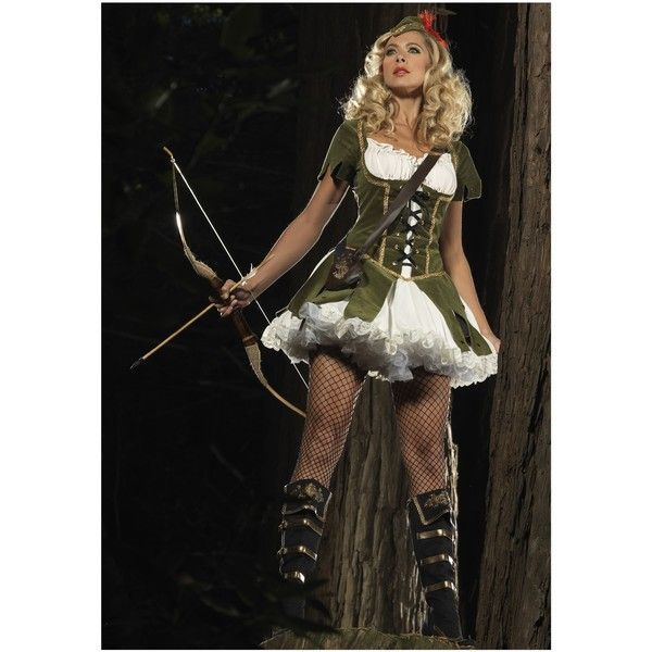 Lady Robin Hood Costume ($59) found on Polyvore featuring costumes, dresses, halloween costumes, womens black widow costume, plus size chemise, sexy plus size halloween costumes, womens halloween costumes and sexy robin hood costume
