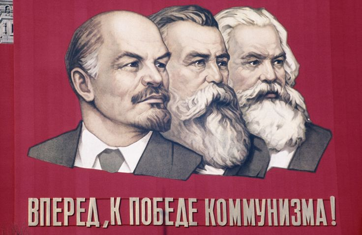 """Lenin, Engels and Marx in Leningrad, poster from 1960. """"Forward, to the victory of communism!"""""""