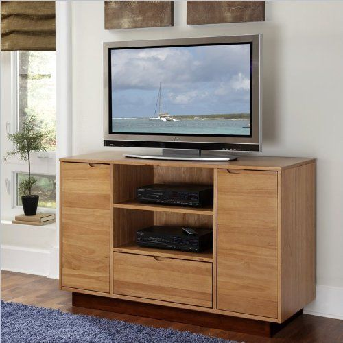 home styles nova tv credenza natural teak finish by home styles