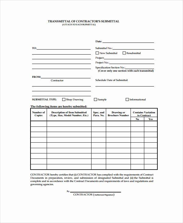 Transmittal Form Templates Awesome Free Construction Letter
