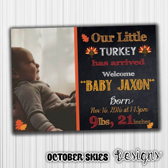 Thanksgiving Baby Announcement New baby by OctoberSkiesDesigns