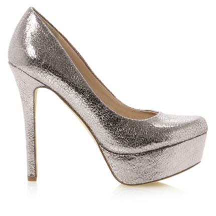 BEWITCHED - High Heeled Platform Metallic Court Shoes By Head Over Heels by Dune, available online at Dune London. #metallic #shine #heels #courts #shoes #headoverheels #dunelondon #silver #platform