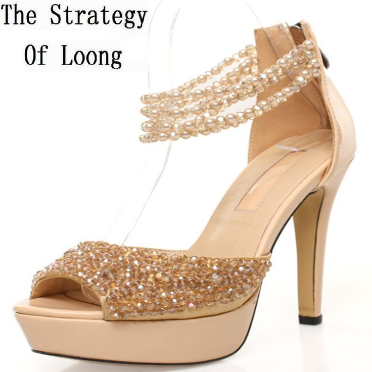 Women Thin High Heel Genuine Leather Pearl Crystal Beading Peep Toe Summer  Fashion Casual Sandals Shoes 6623d9c2d301
