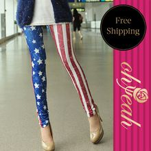T2322 donna pro con america bandiera stampata ripped leggings adventure time leggings american apparel pantaloni discoteca(China (Mainland))