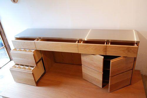 愛知県名古屋市O様 ステンレス天板のキッチンボード   オーダー家具製作   家具工房クレアーレ