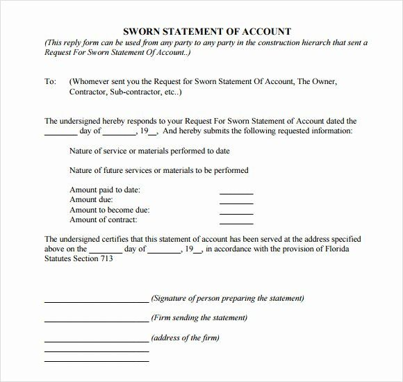 Statement Of Account Template In 2020 Statement Template Artist
