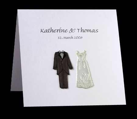 Bride & Groom Layered Wedding Invitation - This invitation has embroidered bride and groom outfits on the front