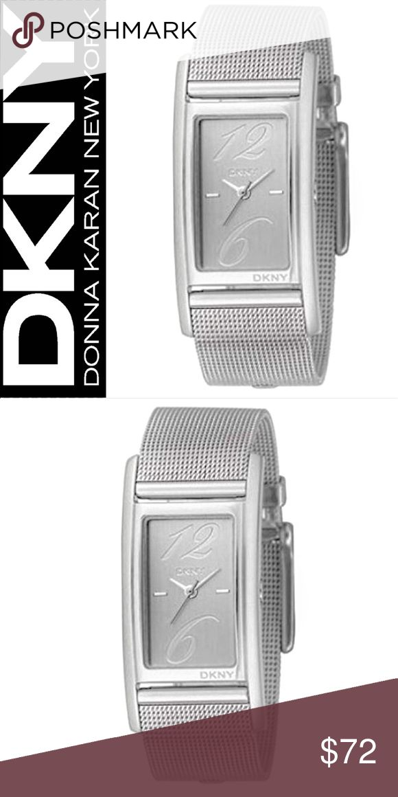 DKNY Stainless Steel Mesh Silver Quartz Watch DKNY Ladies Stainless Steel Mesh Bracelet Silver Dial Quartz Watch  In excellent condition, needs new battery   Crystal Dial Window, Buckle Clasp, Rectangular Stainless Steel Casing  Retail: $120 Dkny Accessories Watches