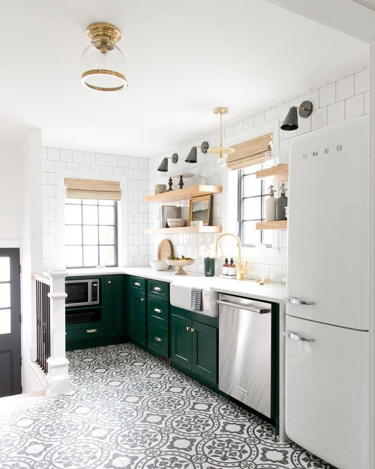 Emerald Green Kitchen Cabinets Black And White Graphic Floor Tile