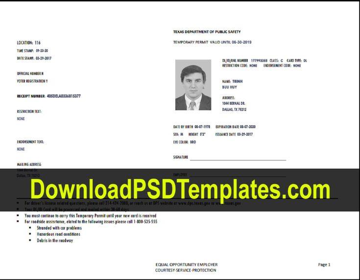texas temporary permit template psd inside texas id card