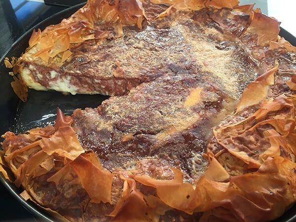 Γαλατόπιτα με κρέμα σοκολάτα-βανίλια (διώροφη)