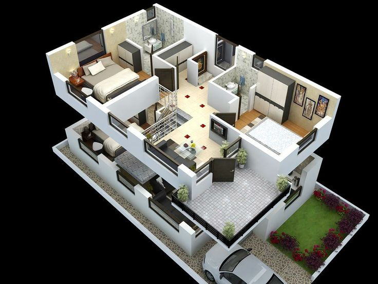 Cut model of duplex house plan interior design click House plan 3d view