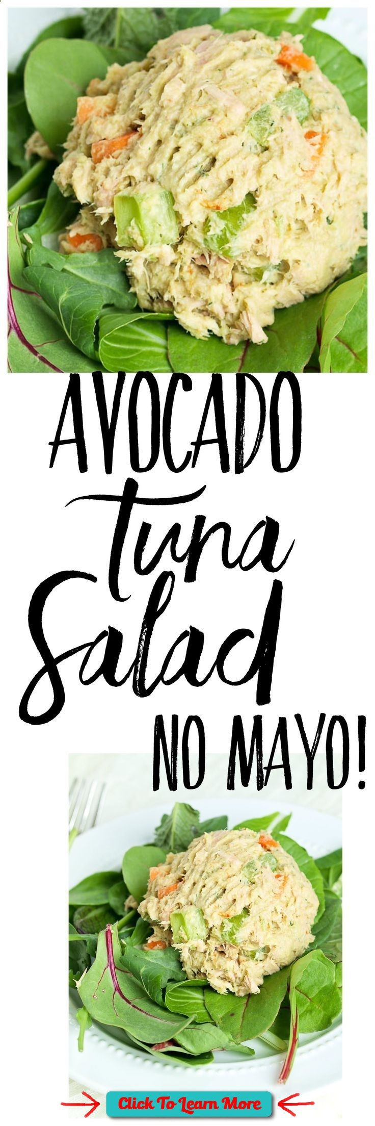 This Avocado Tuna Salad recipe is made with no mayo! This makes a great high-protein, low-carb lunch idea! Great paleo lunch recipe. #health #fitness #weightloss #healthyrecipes #weightlossrecipes