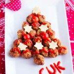 Árbol navideño de albóndigas de pollo, ¡qué original!