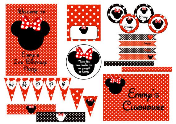 Minnie Mouse Party Decorations  Red Black & by LoveIncorporated