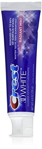 Crest 3D White Radiant Mint Whitening Toothpaste, 4.8 oz ,2 Count  Whitens teeth by removing up to 80 percent of surface stains  Protects teeth against future stains  Strengthens teeth and safe on tooth enamel  Fluoride toothpaste protects against cavities  Radiant mint flavor