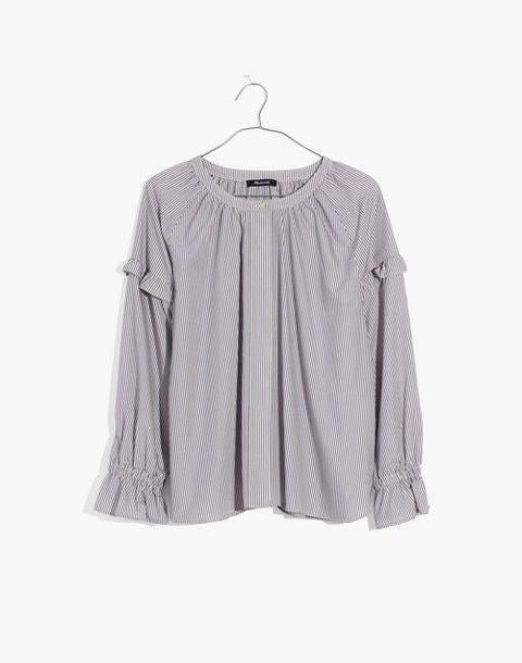 2a33b3377f Collarless Ruffle-Sleeve Shirt in Stripe in warwick stripe vintage linen  image 4