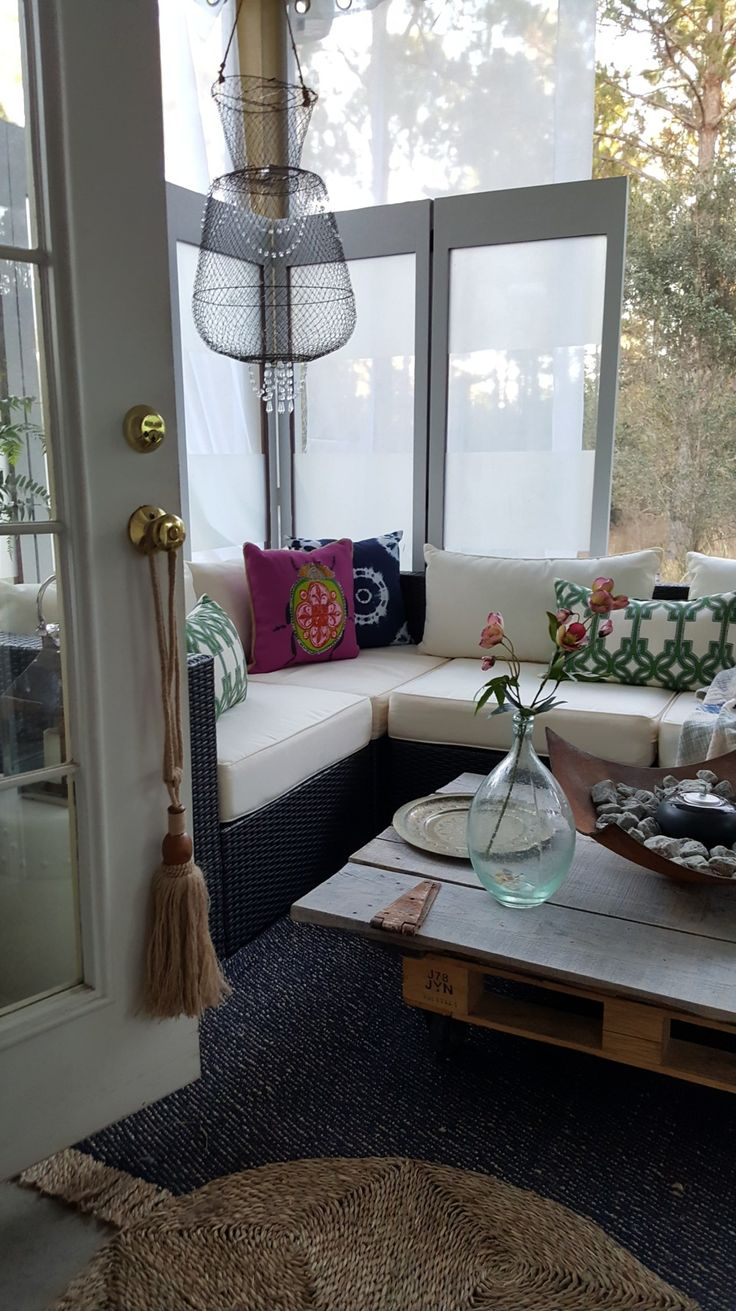 ORC Back Porch Makeover Reveal Outdoor Sofa Rustic Farmhouse Table Chandelier