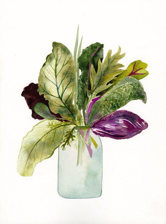 Greens Original Watercolor by amberalexander on Etsy, $90.00