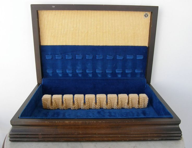 VINTAGE SILVERWARE BOX Cobalt Blue Velvet & Corduroy Lined Wooden Flatware Case Service for 10 Extra Space Blue Felt Lined Bottom 1940's by OnceUpnTym on Etsy