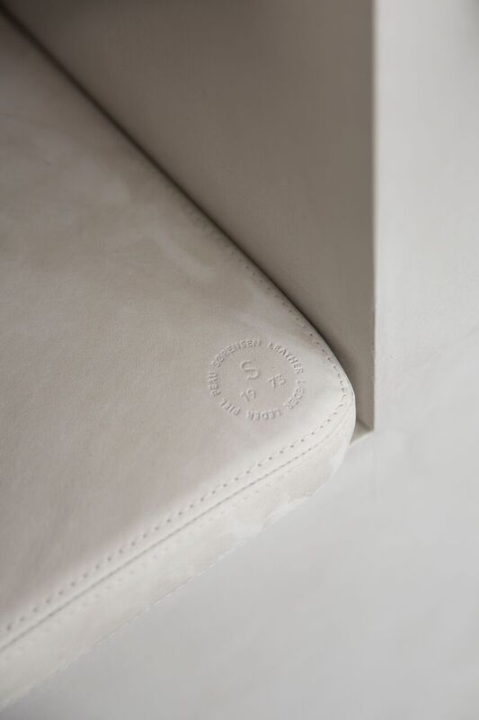 Corner of leather seat cushions designed by NORM.Architects for Kinfolk Gallery. Sorensen Leather: Royal Nubuck / Off White. Photo: Jonas Bjerre-Poulsen / #normarchitects #kinfolkgallery #kinfolk #theredsocial #sorensenleather