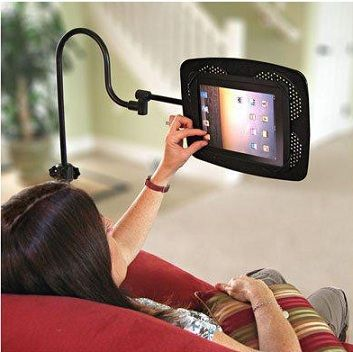 Accessories, Touching The Awesome Ipad Using The Black Ipad Holder Nice And Cool Idea For Designing Bed Or Best Life Style:  Ipad Holder For...