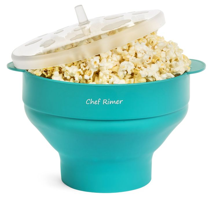 Chef Rimer Microwave Popcorn Popper Sturdy Convenient Handles Healthy No Oil Silicone Turquoise Collapsible Hot Air Movie Theater Aroma Great Popcorn Maker Machine.BPA PVC Free With Lid
