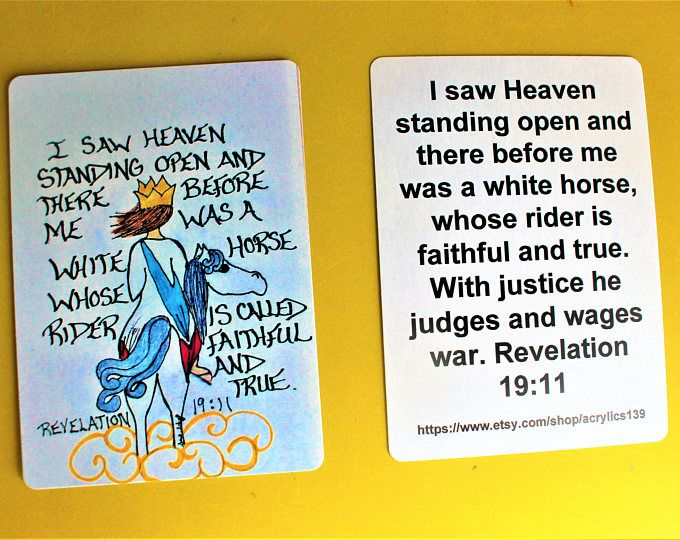 Scripture Doodle Mini Bible Verse Card of Encouragement/Revelation 19:11/White horse whose rider was called faithful and true/Scripture Card