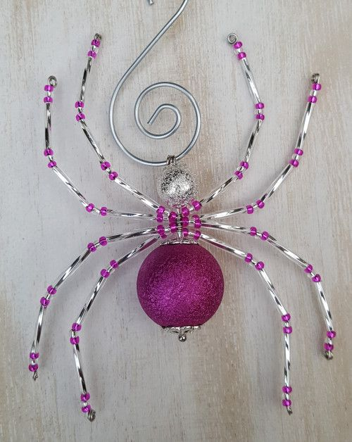 Silver and Fuchsia Christmas Spider Ornament