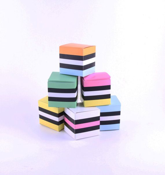 Liquorice Allsorts Party Favor Boxes. 6 printable DIY templates, bright and colourful. Striped candy boxes.. $4.00, via Etsy.