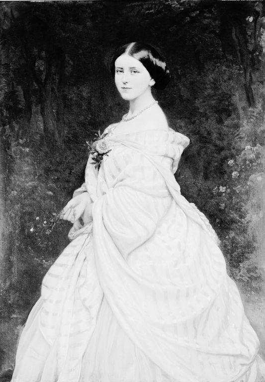 Queen Stephanie of Portugal (1837-1859), Portrait by Carl Ferdinand Sohn (1806-67)