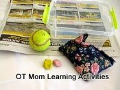 "Fine motor skills activities for older kids; suggests making a ""activities box"" and lists several simple, quick activities to strengthen fine motor skills"