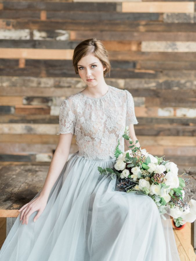 Romantic two piece lace + tulle gown: http://www.stylemepretty.com/washington-weddings/seattle/2016/03/08/industrial-meets-organic-earl-grey-wedding-inspiration/ | Photography: Whiskers and Willow - http://www.whiskersandwillow.com/