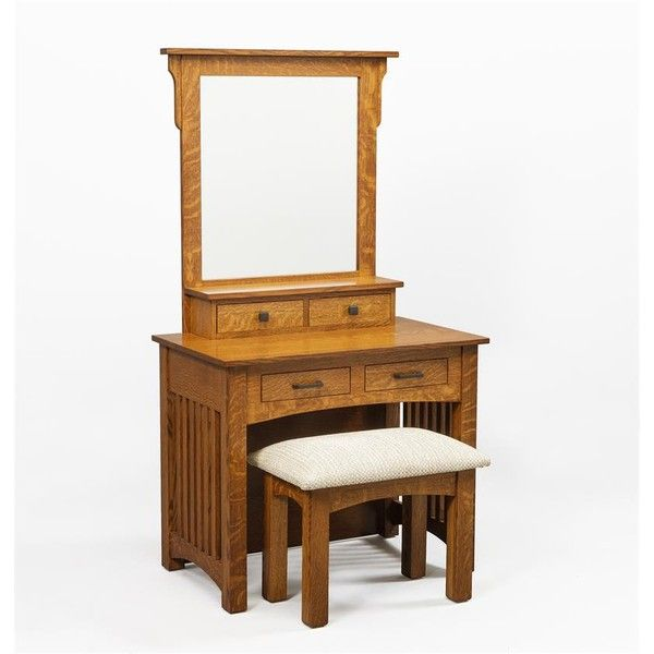 """Amish 36"""" Mission Dressing Table ($835) ❤ liked on Polyvore featuring home, furniture, tables, storage table, drawer furniture, word tables, dovetail furniture and handmade tables"""