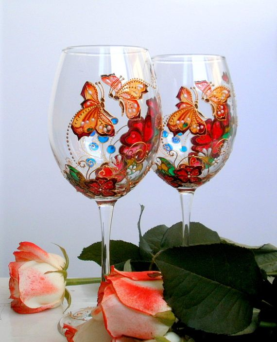 This set of two hand painted wine glasses can become an unforgettable and useful gift for many occasions: Valentines Day, Anniversary, Wedding or Birthday.... Ill gladly personalise the base of the glasses with names or wedding date or your text. If you are looking for some specific