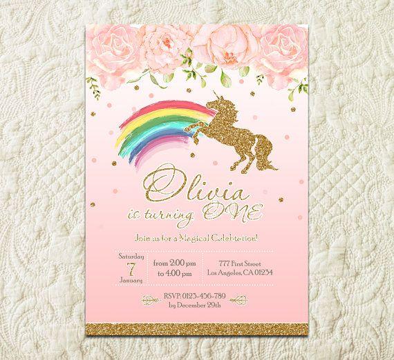 Arco iris unicornio invitación fiesta de cumpleaños, invitación cumpleaños mágico arco iris unicornio cumpleaños partido invita, mágico invitan a fiesta de cumpleaños